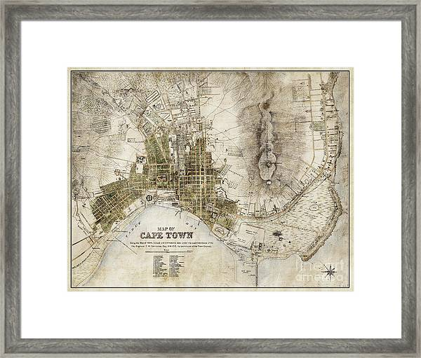 Vintage Antique Cape Town South Africa City Map Framed Print
