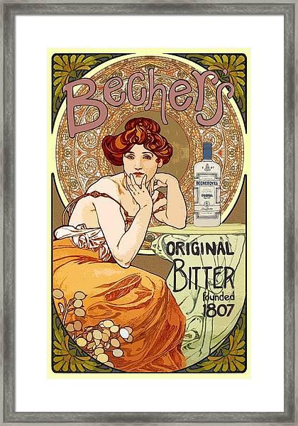Vintage Art Nouveau Bechers Original Bitter 1807 Framed Print