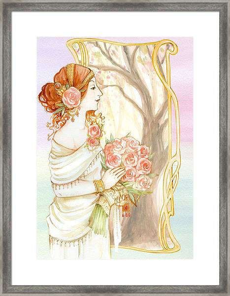 Vintage Art Nouveau Flower Lady Framed Print