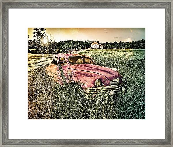 Vintage Auto In A Field Framed Print
