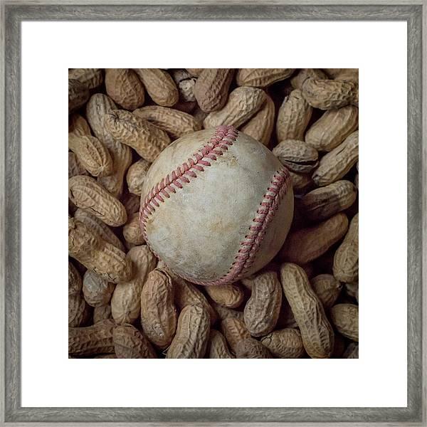 Vintage Baseball And Peanuts Square Framed Print