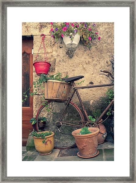 Vintage Bicycle Used As A Flower Pot, Provence Framed Print