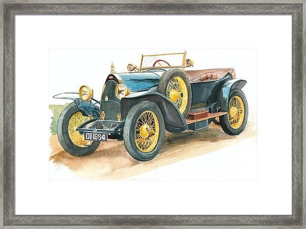 Vintage Blue Bugatti Classic Car Framed Print