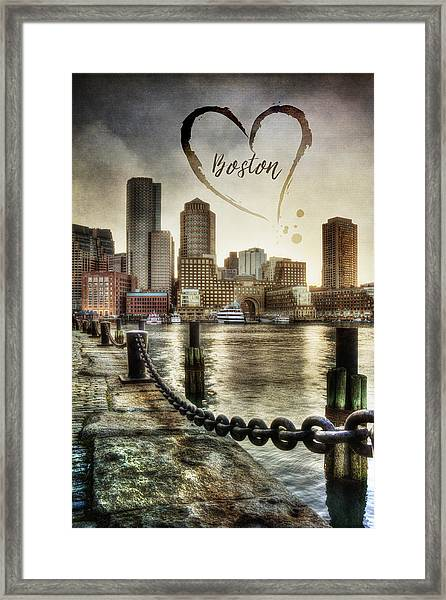 Vintage Boston Skyline Framed Print