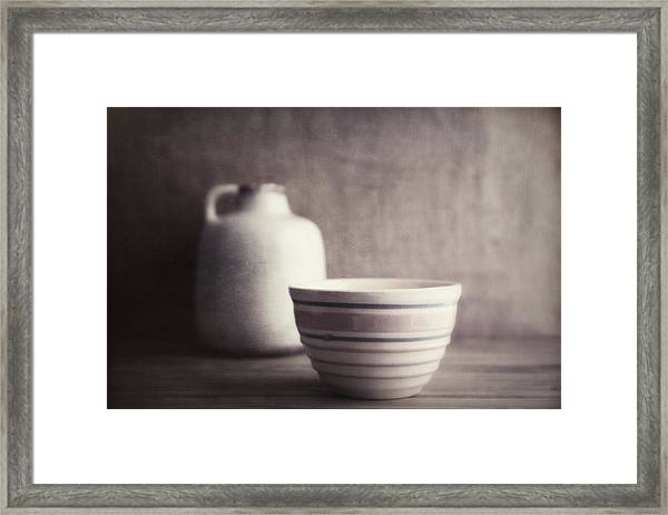 Vintage Bowl With Jug Framed Print