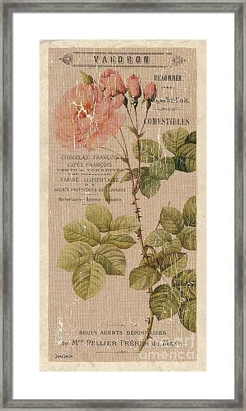 Vintage Burlap Floral 4 Framed Print