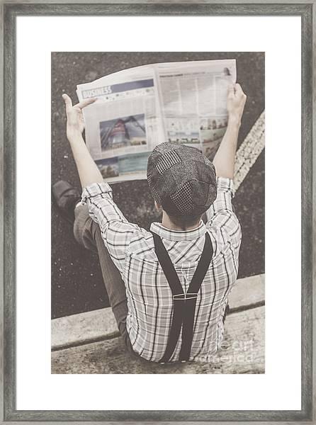 Vintage Businessman Reading Business News Framed Print