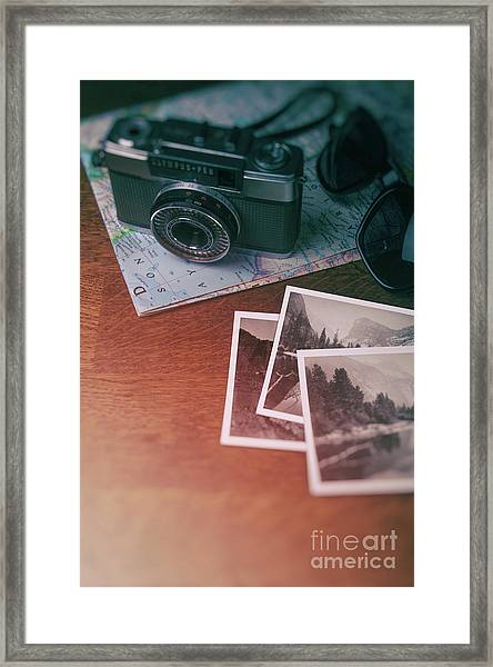 Vintage Camera On Map Framed Print