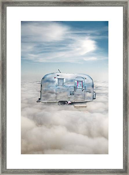 Vintage Camping Trailer In The Clouds Framed Print