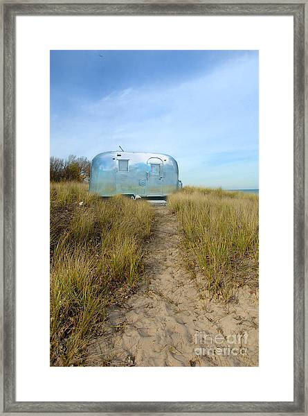 Vintage Camping Trailer Near The Sea Framed Print