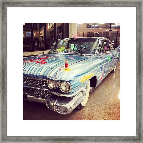 Vintage Car At The Mobile Airport #car Framed Print