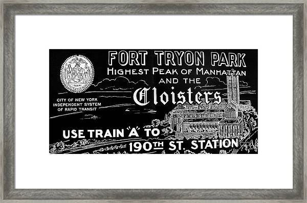 Vintage Cloisters And Fort Tryon Park Poster Framed Print