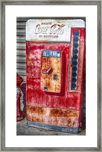 Vintage Coca-cola Machine 10 Cents Framed Print