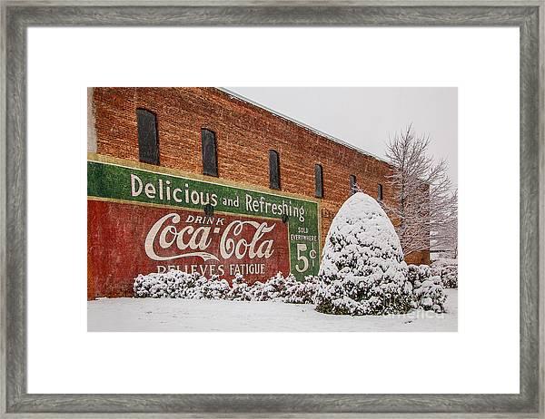 Vintage Coca Cola Sign New Albany Mississippi Framed Print