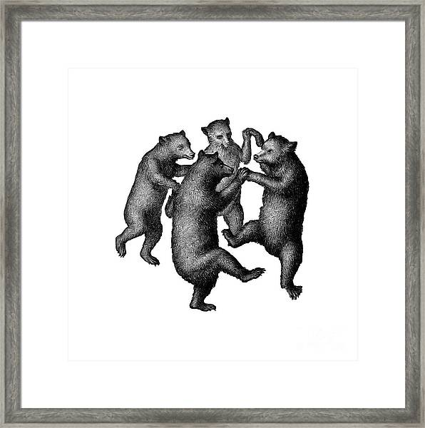 Framed Print featuring the drawing Vintage Dancing Bears by Edward Fielding