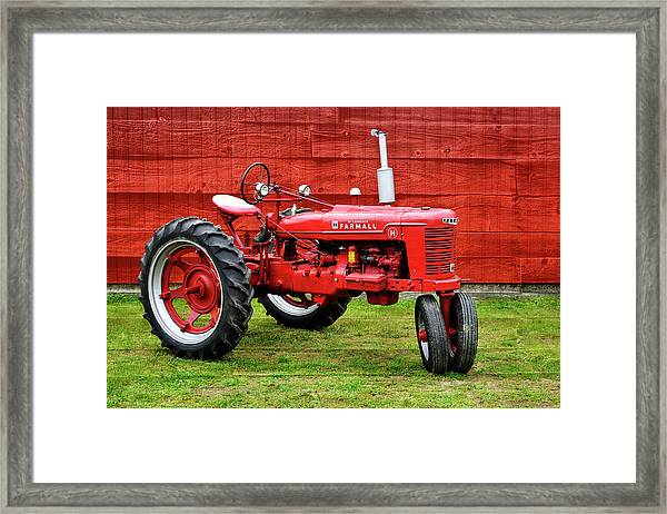 Vintage Farmall Tractor With Barnwood Framed Print