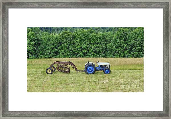Vintage Ford Blue And White Tractor On A Farm Framed Print