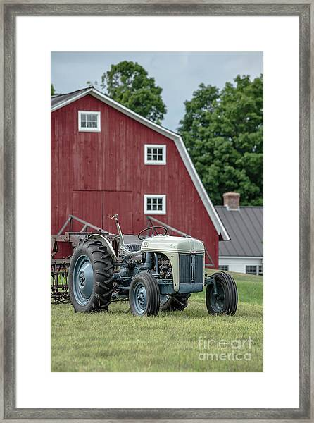 Vintage Ford Farm Tractor With Red Barn Framed Print