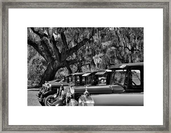 Vintage Ford Line-up At Magnolia Plantation - Charleston Sc Framed Print