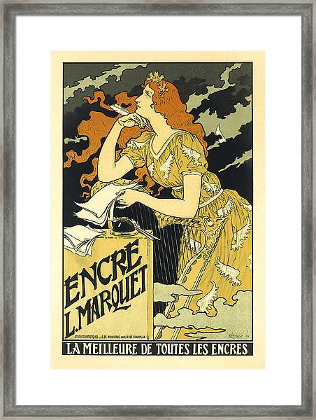 Vintage French Advertising Art Nouveau Encre L'marquet Framed Print