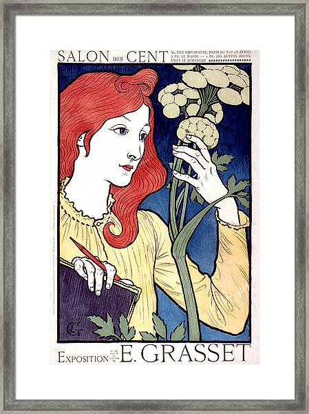 Vintage French Advertising Art Nouveau Salon Des Cent Framed Print