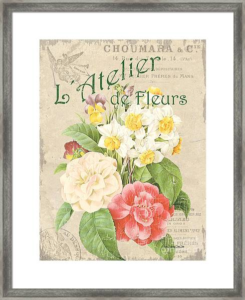 Vintage French Flower Shop 1 Framed Print