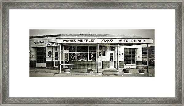 Vintage Gas Station Framed Print