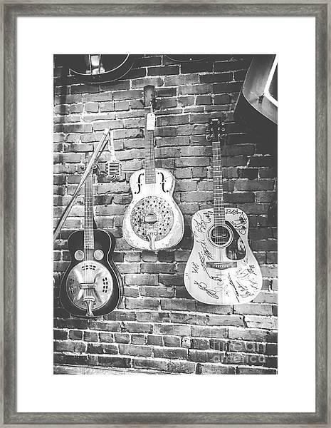 Vintage Guitar Trio In Black And White Framed Print