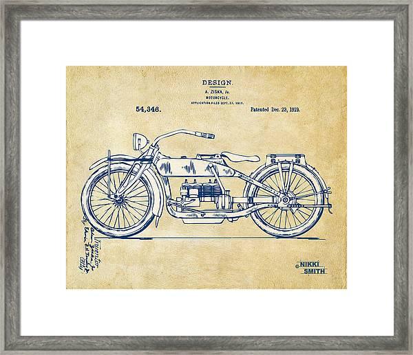 Vintage Harley-davidson Motorcycle 1919 Patent Artwork Framed Print