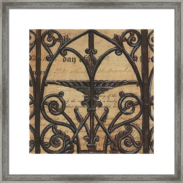 Vintage Iron Scroll Gate 1 Framed Print