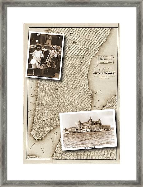 Vintage Map Ellis Island Immigrants Framed Print