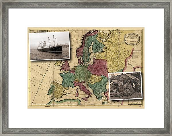 Vintage Map Europe Immigrants Framed Print