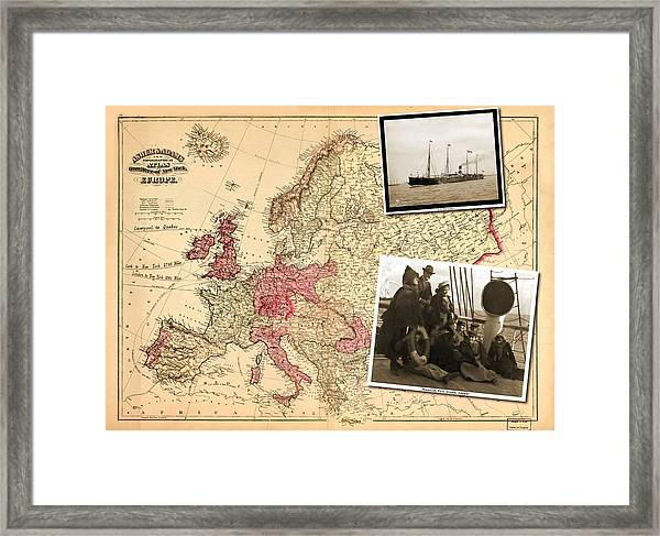 Vintage Map Europe To New York Framed Print