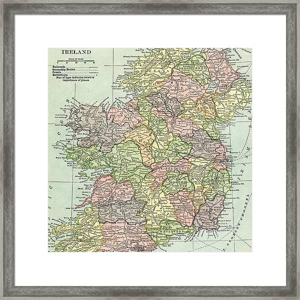 Vintage Map Ireland Framed Print