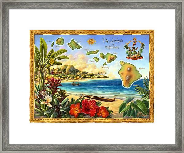 Vintage Map Of Hawaii Framed Print