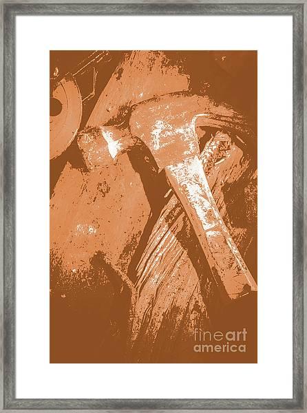 Vintage Miners Hammer Artwork Framed Print