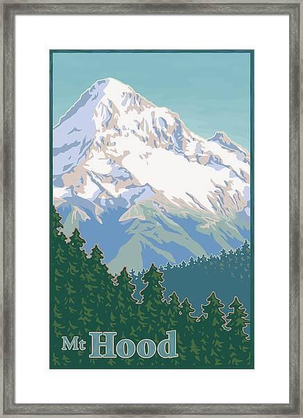 Vintage Mount Hood Travel Poster Framed Print