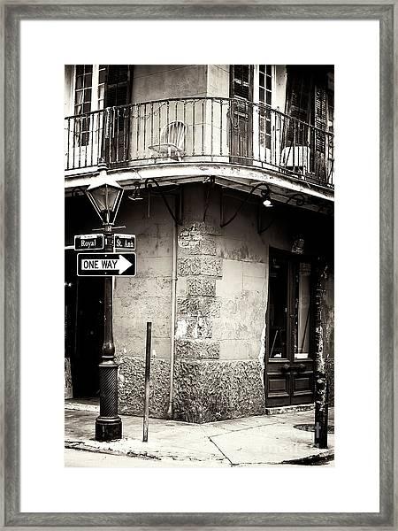 Vintage New Orleans French Quarter Framed Print
