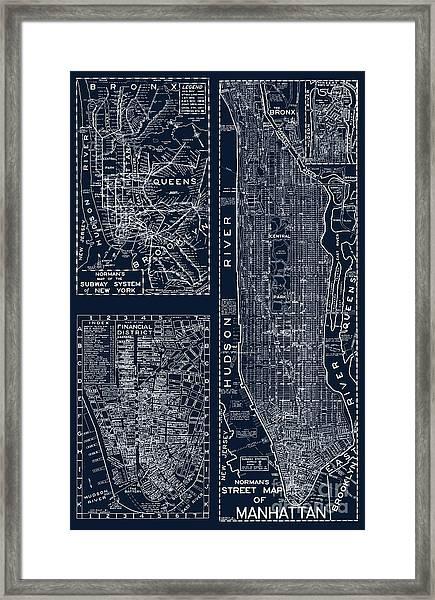 Vintage New York City Street Map Framed Print