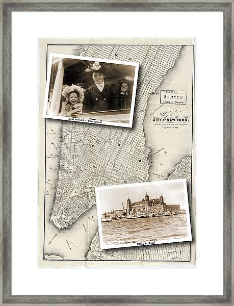 Vintage New York Map With Ellis Island Framed Print