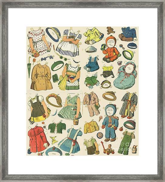 Vintage Paper Dolls  Framed Print
