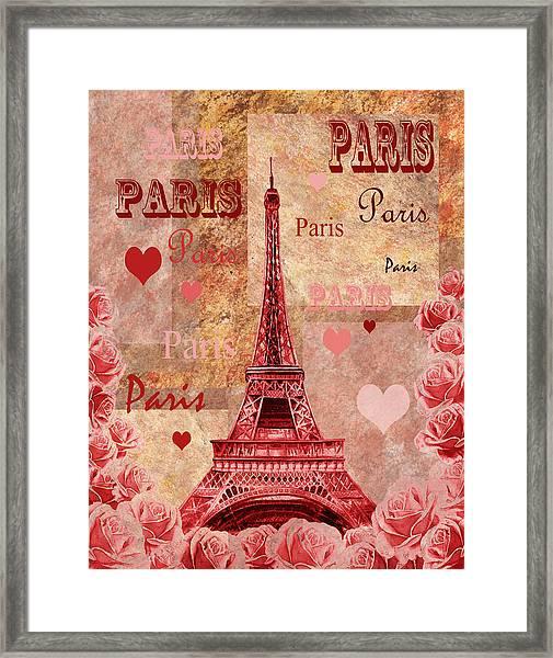 Vintage Paris And Roses Framed Print