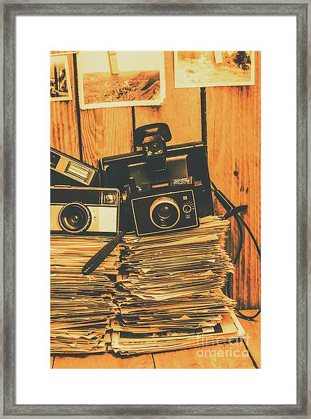 Vintage Photography Stack Framed Print