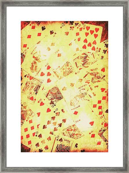 Vintage Poker Background Framed Print