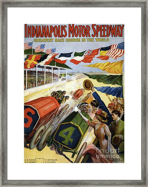Vintage Poster Advertising The Indianapolis Motor Speedway Framed Print