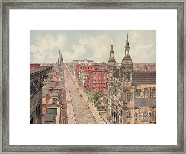 Vintage Print Of Fifth Avenue From 42nd Street In New York City, Looking North, 1904 Framed Print