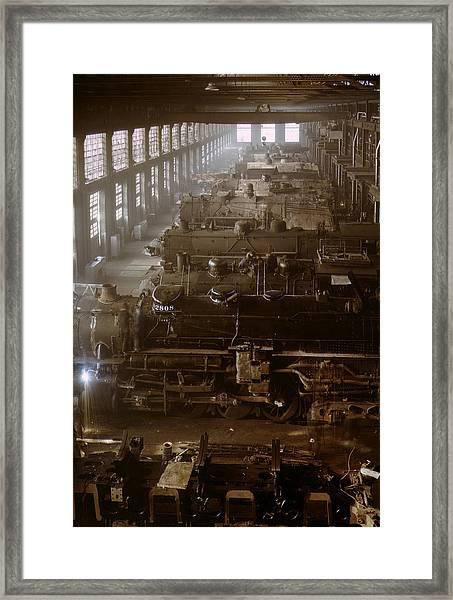 Vintage Railroad Locomotive Shop - 1942 Framed Print