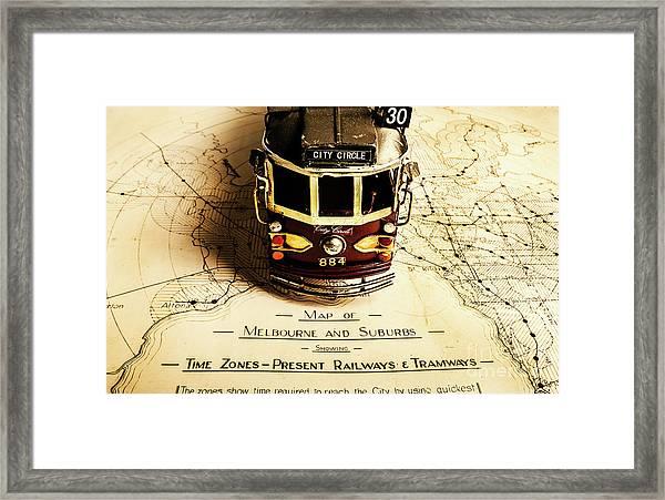 Vintage Railways And Tramways Framed Print