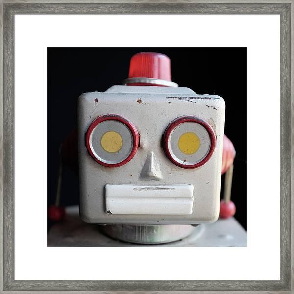 Vintage Robot Square Framed Print