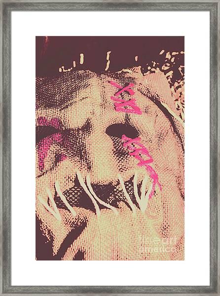 Vintage Scarecrow Mask Framed Print